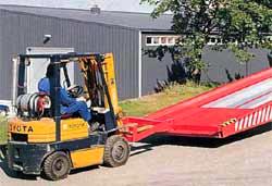 Endring av losse og lastested, rampen kan enkelt flyttes med truck.